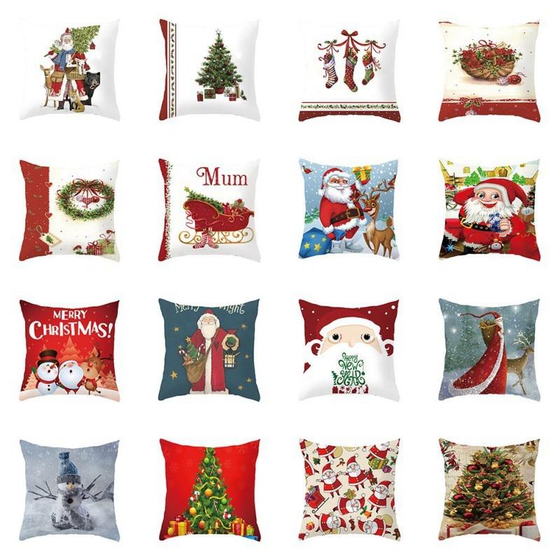 Peach Velvet Material Christmas Day Series Pillow Case Home Garden Home Textile Pillow Case Happy New Year