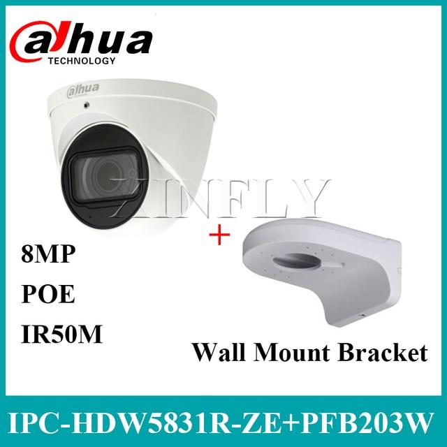Dahua IPC HDW5831R ZE 4K 8MP Eyeball Network Camera POE 2.7 ~12mm IR IP67 SD Card Built in Mic With Wall Mount Bracket PFB203W