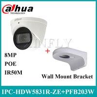 داهوا IPC HDW5831R ZE 4 K 8MP مقلة العين كاميرا شبكة مراقبة POE 2.7 ~ 12 مللي متر IR IP67 SD بطاقة مدمج Mic مع جدار جبل قوس PFB203W-في كاميرات المراقبة من الأمن والحماية على
