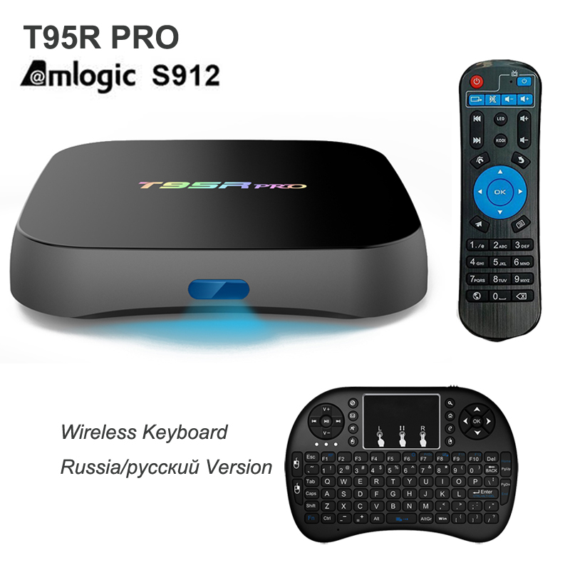 T95R Pro Android TV Box Amlogic S912 Octa Core 2 GB + 8 GB 2 GB + 16 GB 3 GB + 32 GB Android 6.0 Reproductor Multimedia Con Teclado Inglés Ruso