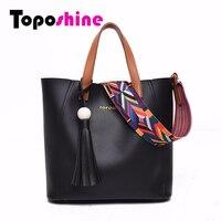 Toposhine 2016 New Color Ribbon Women Bag 5 Color Women Handbag Composite High Quality PU Leather