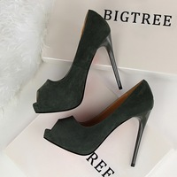 New Summer Open Toe Pumps Thin Heeled Suede High Heels Shoes Sexy Single Female Shoes Platform