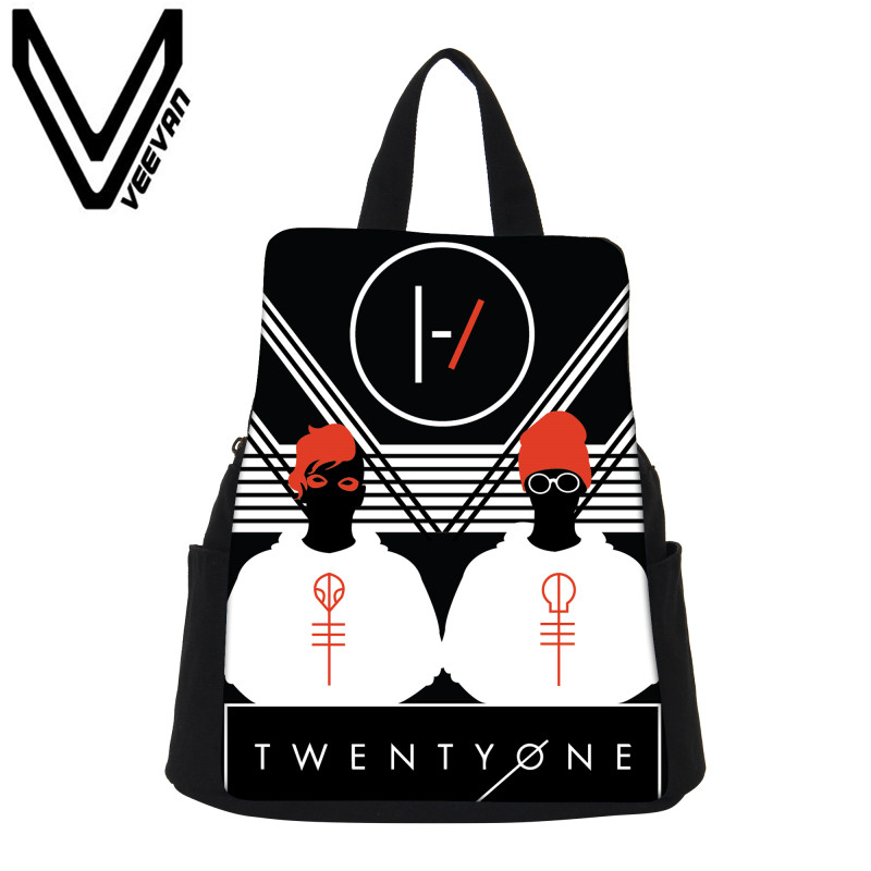 VEEVANV Brand 2017 Twenty One Pilots Women Backpack Daily Capacity Canvas Girls School Bag Twenty One Pilots 3D Prints Backpacks