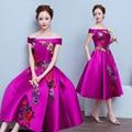 2017 medium-long evening plus size Lace up Purple color party Flower pattern prom dresses