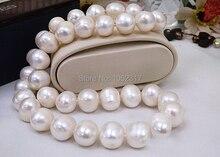 Classic 100% real collares de perlas 18 pulgadas blanco Natural de la perla del AA 12 – 14 mm destacado collares regalos para mujer joyería