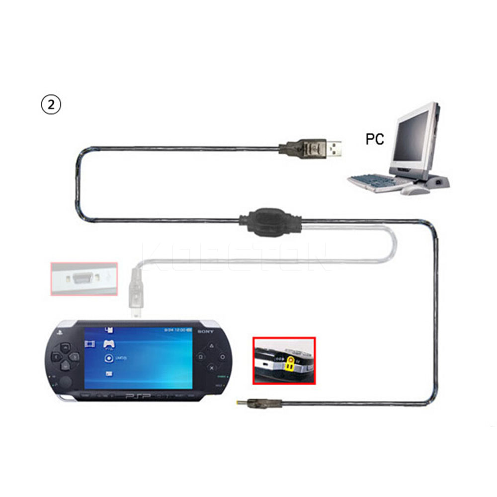 Newest 2 in 1 USB Data Cable + Charger Cable Cord For PSP 2000 3000 Gaming Accssories 5