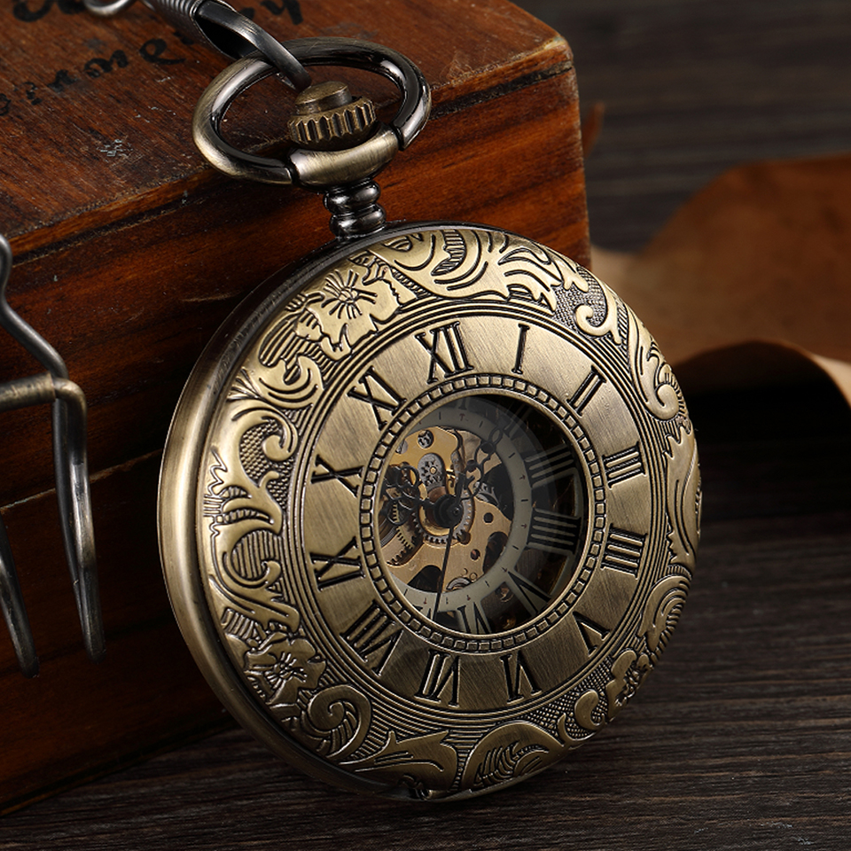Vintage Men's Hand Wind Mechanical Pocket Watch Without Battery Retro Hollow Skeleton Fob Chain Watches Steampunk Men Flip Clock