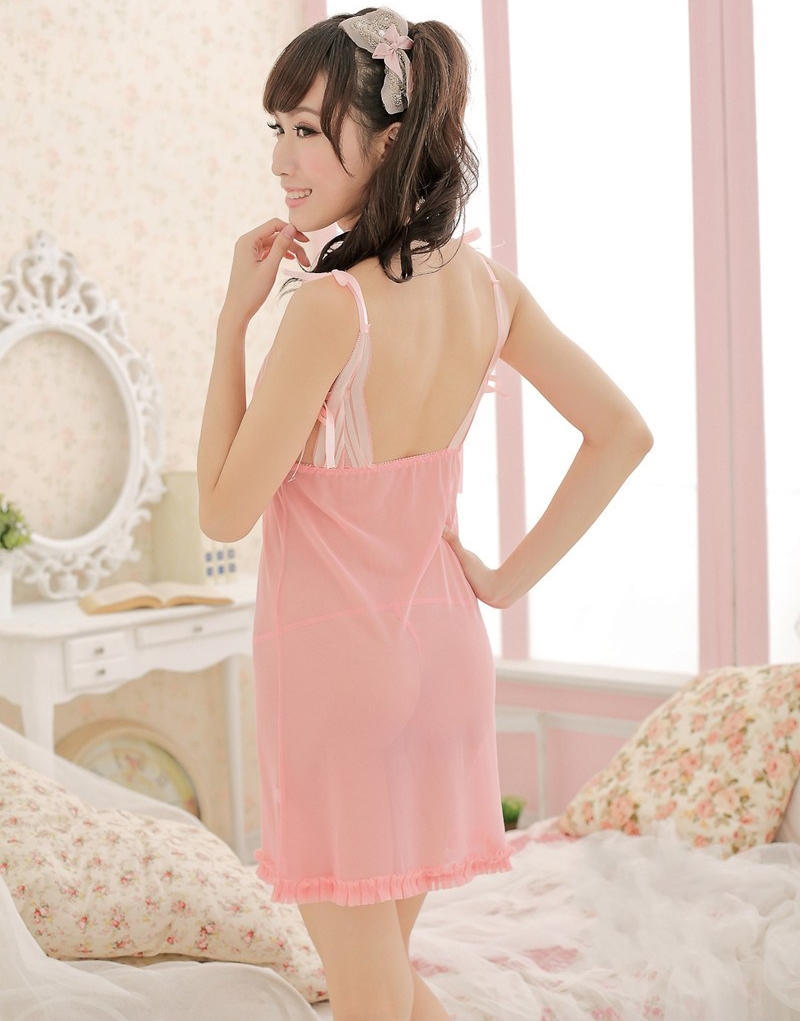 62127058b53 New Ladies Pink Sheer nighties night dress Sexy women lingerie lace see  through sleepwear-in Nightgowns   Sleepshirts from Underwear   Sleepwears  on ...