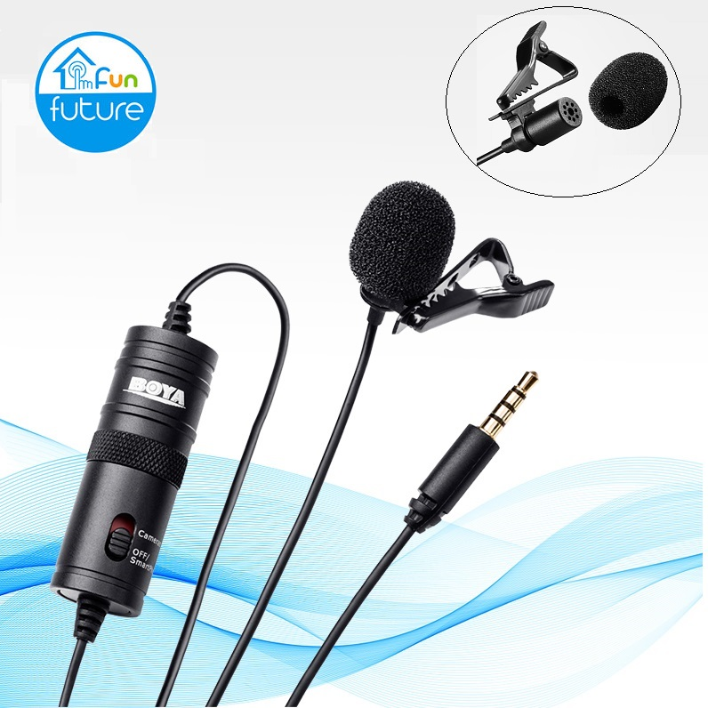 Microphone BOYA BY-M1 6m Clip-on Lavalier Mini Audio 3.5mm Collar Condenser Lapel Mic for recording Canon / iPhone DSLR C image