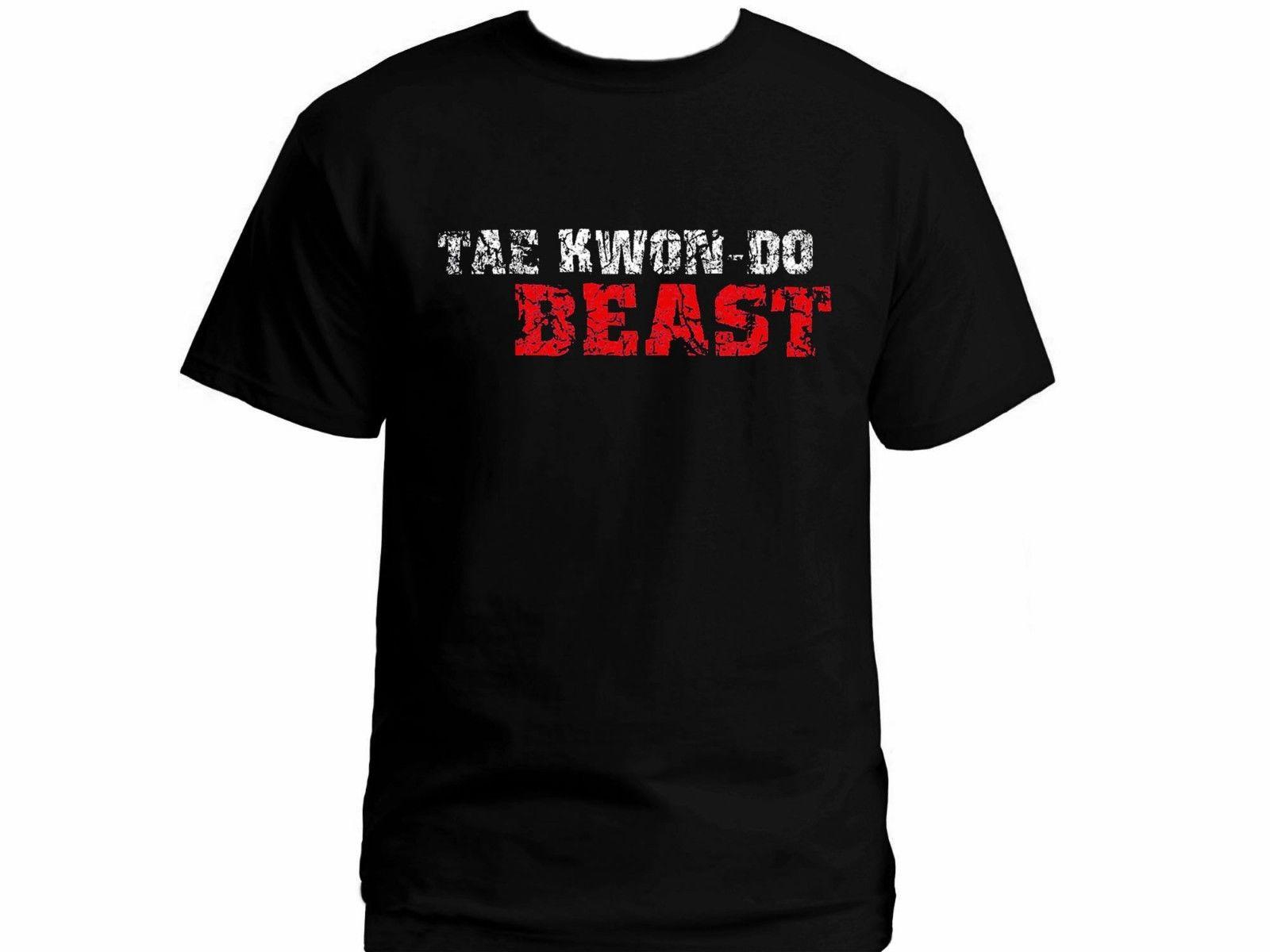 Тхэквондо зверь поношенности Забавный черный Графический Футболка