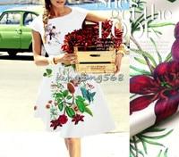 Designer 93% natural mulberry silk 7% spandex stretch satin clothing fabric birds red flower dress cheongsam 1.1m U428