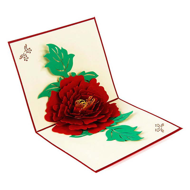 New Diy Handmade Creative Albums Romantic Souvenir: Romantic 3D Pop Up Peony Flower Handmade DIY Best Wish