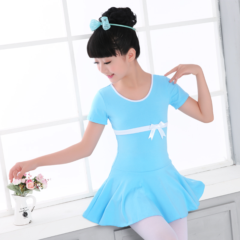 High Quality Cotton Front Bowknot Short Sleeve Ballet Dance Dress Children Kids Girls Gymnastics Dance Leotard Dress