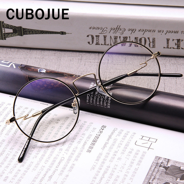 7ceda80277 Cubojue 48mm Round Glasses Men Women Circle Grade Points Eyeglasses Frames  for Female Small Face Spectacles for Myopia Diopter