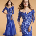 2017 New Fashion Blue Mermaid Dress V Neck Bead Selena Gomez Sexy Wedding Party Formal Beyonce Dress Celebrity Dresses 61302