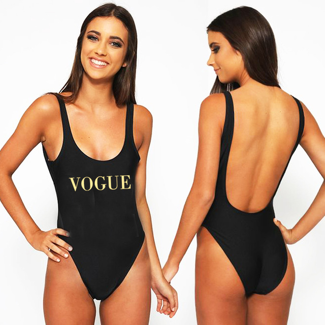 0b1841cc62 VOGUE Sexy Swimwear Women 2018 New Letter Print One Piece Swimsuit Summer Bodysuit  High Cut Low