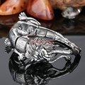 Plata joyería fresca Animal pesado fuerte para hombre 100% hombre de acero inoxidable 316L Lion Leopard pulsera de cadena del motorista Wholesale Retail