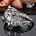 Silver Cool Animal Jewelry Heavy Strong Mens 100% 316L Stainless Steel Male Lion Leopard Biker Chain Bracelet Wholesale Retail