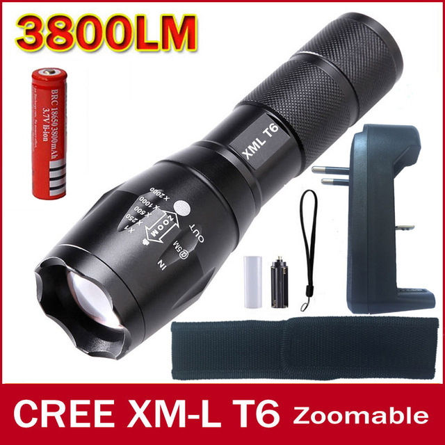 E17 Черный CREE 3800LM Водонепроницаемый XM-L T6 LED Фонарик 5 режимы Масштабируемые LED Факел Для 3 АА или 18650 Батарей 100% аутентичные