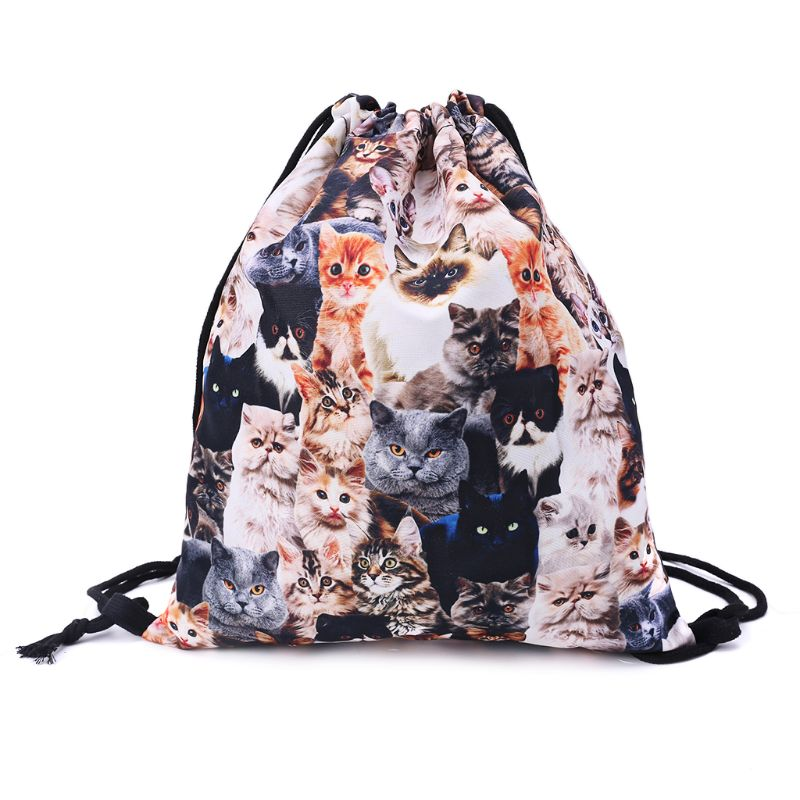 Cute Polyester 3D Print Drawstring Backpack Cats Cinch Sack Rucksack Shoulder Bags Gym Bag Unisex Fashion Drawstring Bags