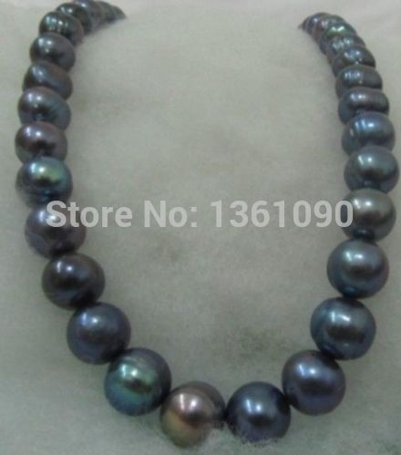 FREE SHIPPING>>>@ 00609 stunning 12-13mm tahitian baroque black blue pearl necklace newFREE SHIPPING>>>@ 00609 stunning 12-13mm tahitian baroque black blue pearl necklace new