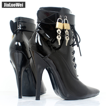 2017 New Women 12cm High heel sexy Fetish Cross-tied Pointed Toe Stiletto Buckle ankle Strap Boots with padlocks DWT TV CD