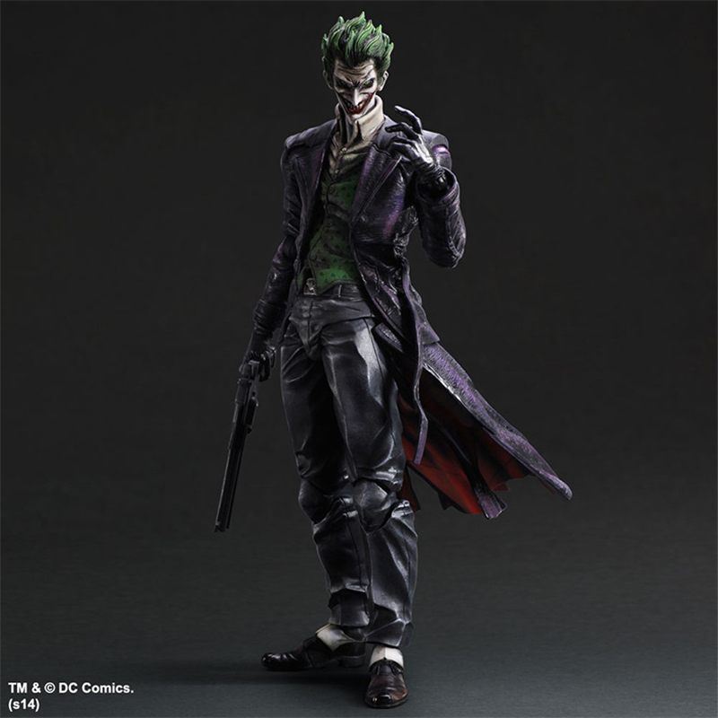 Play Arts KAI Super Hero Batman Arkham Origins The Joker With Gun PVC Action Figure Collectible Model Kids Toys Doll 25cm neca dc comics batman arkham origins super hero 1 4 scale action figure