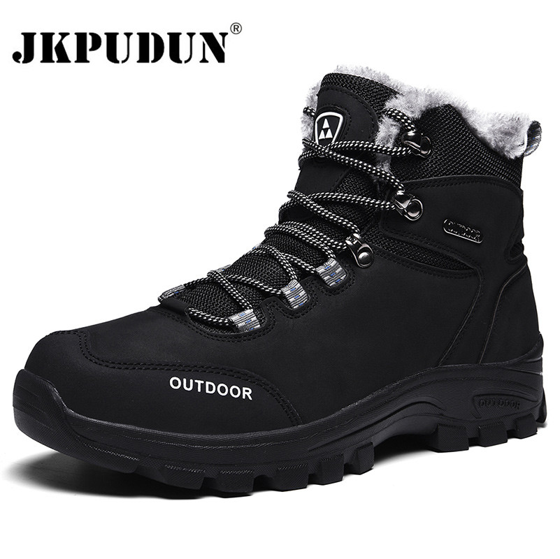 Genuine Leather Men Boots Winter With Fur 2019 Warm Snow Boots Men Winter Work Casual Shoes Military Rubber Ankle Boots JKPUDUN