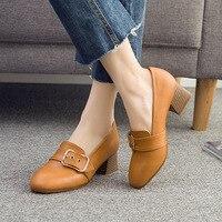 Vintage Square Block Heels Split Leather Shoes Women Pumps Platform 2018 Autumn Mid Heel Leather Loafers Office Shoe 41 42