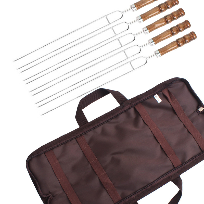 5pcs/Set Barbecue Tool Roasting Forks With Bag Camping Hot Dog Telescoping Sticks Skewers BBQ Forks Stainless Steel m