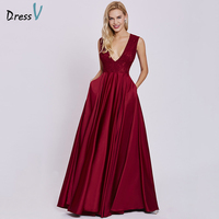 Dressv Rust Red Elegant Long Evening Dress Cheap V Neck Sleeveless A Line Wedding Party Formal