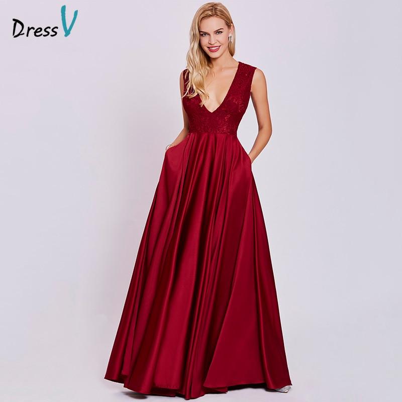 new products a3f8b b475e US $22.36 74% OFF|Dressv rost rot elegante lange abendkleid günstige v neck  sleeveless eine linie hochzeit formale kleid spitze abendkleider-in ...
