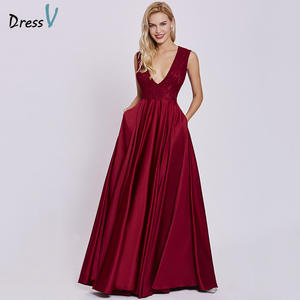 Dressv Wedding-Party Elegant Rust Lace Long Sleeveless Cheap V-Neck Red A-Line