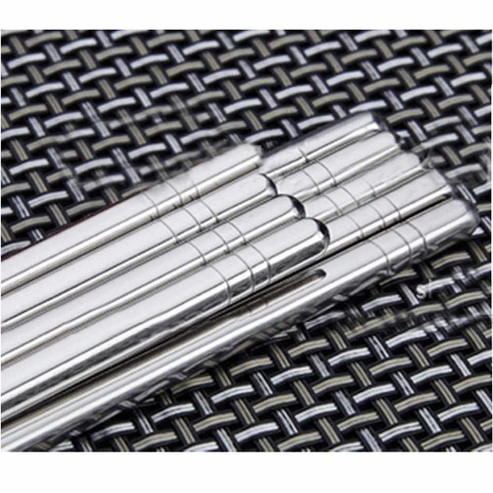 1 par de vajilla de acero inoxidable longitud colorida 19cm palillos reutilizables vajilla de hierro plateado antideslizante hogar Metal chino