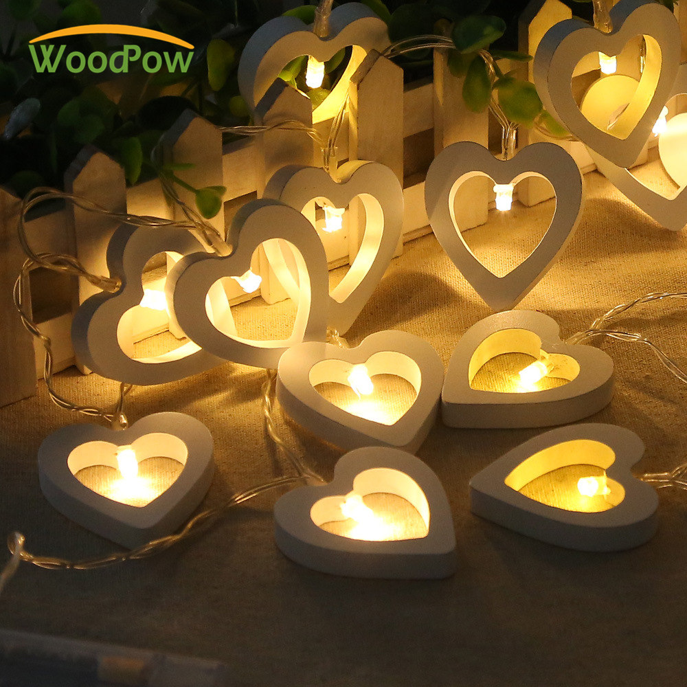 WoodPow Love Heart LED String Lighting 120CM 10LED Wood Material Lamp Valentine Day Flower Party Wedding Christmas Fairy Decor
