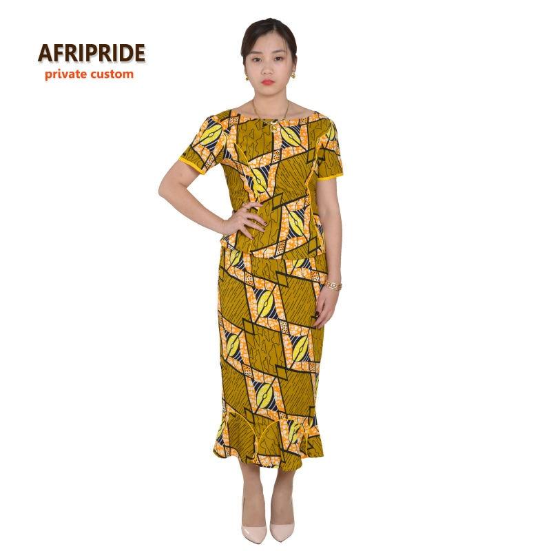 مثير الأفريقي قطعتين البدلة فساتين للنساء نساء نمط الملابس الأفريقية طباعة القطن الشمع الخاص مخصص زائد الحجم A622601