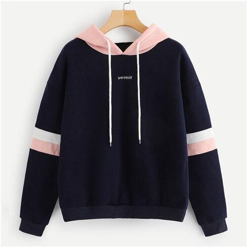 US $12.98 40% OFF|SweatyRocks Navy Contrast Panel Drawstring Hoodie Sweatshirt Long Sleeve Pullovers Women Hoodies 2018 Autumn Casual Sweatshirts in