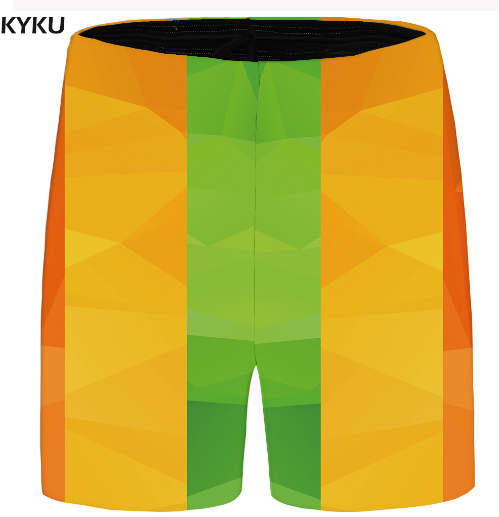 KYKU Brand Lattice Shorts Men Yellow Beach Shorts Casual Plus Size Gothic Cargo 3d Mens Short Pants 2018 Summer High Quality