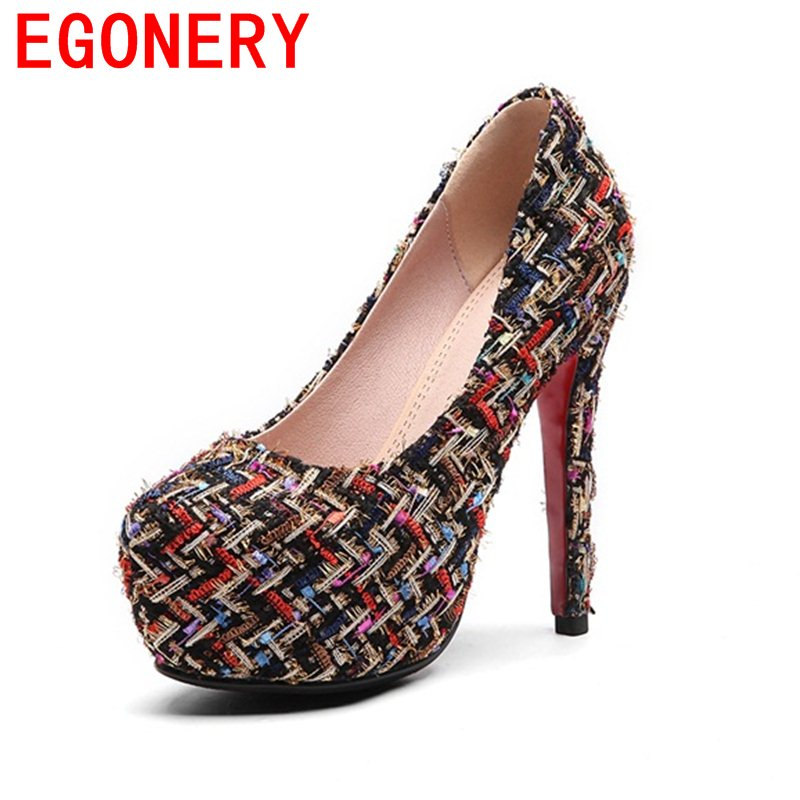 EGONERY platform zapatos mujer stiletto elegant shallow pumps round toe PU colorful wedding shoes thin high heels shoes woman cdts 35 45 46 summer zapatos mujer peep toe sandals 15cm thin high heels flowers crystal platform sexy woman shoes wedding pumps