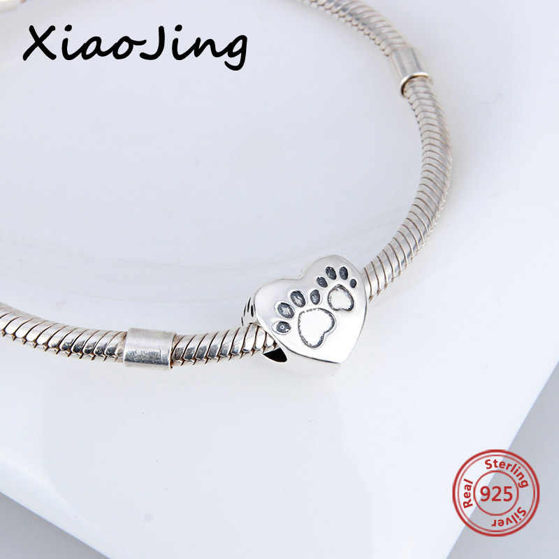 5cac7ce67 ... Hot sale 925 sterling silver Charms original dog footprints Love Heart Beads  Fit European bracelet beads ...