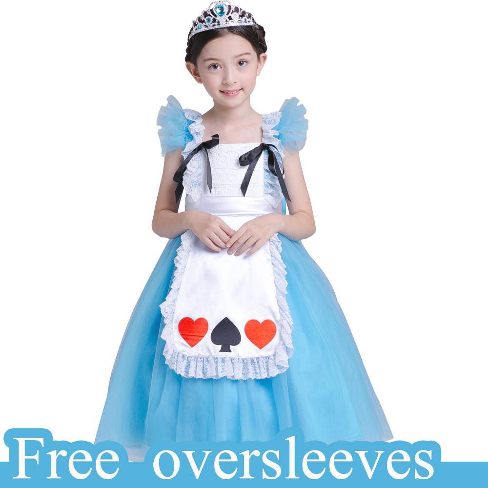 Baby Girls Princess dress vestido infantil Alice In Wonderland Costume Dress Lolita Dress Maid Cosplay dress free oversleeves цена 2017