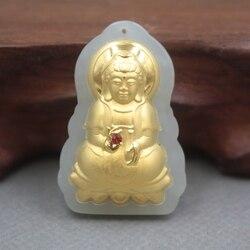 新しい24 kイエローゴールドナチュラル硬玉ヒスイ女性男性クワン観音祝福ペンダント36 × 25ミリメートル