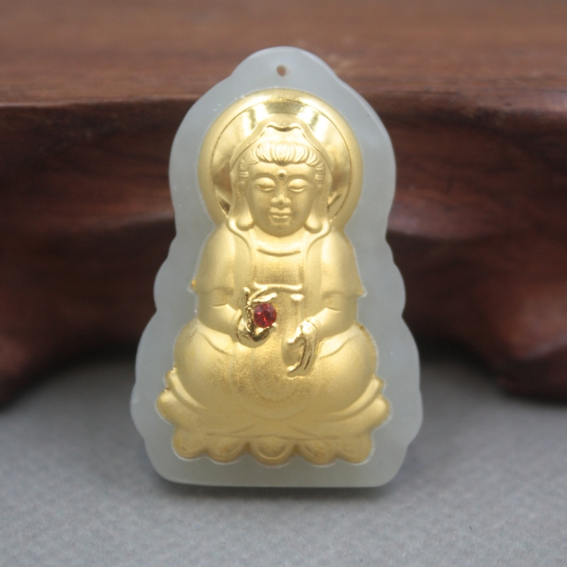 New 24K Yellow Gold Natural Jadeite Jade Women Men Kwan-Yin Bless Pendant 36x25mm