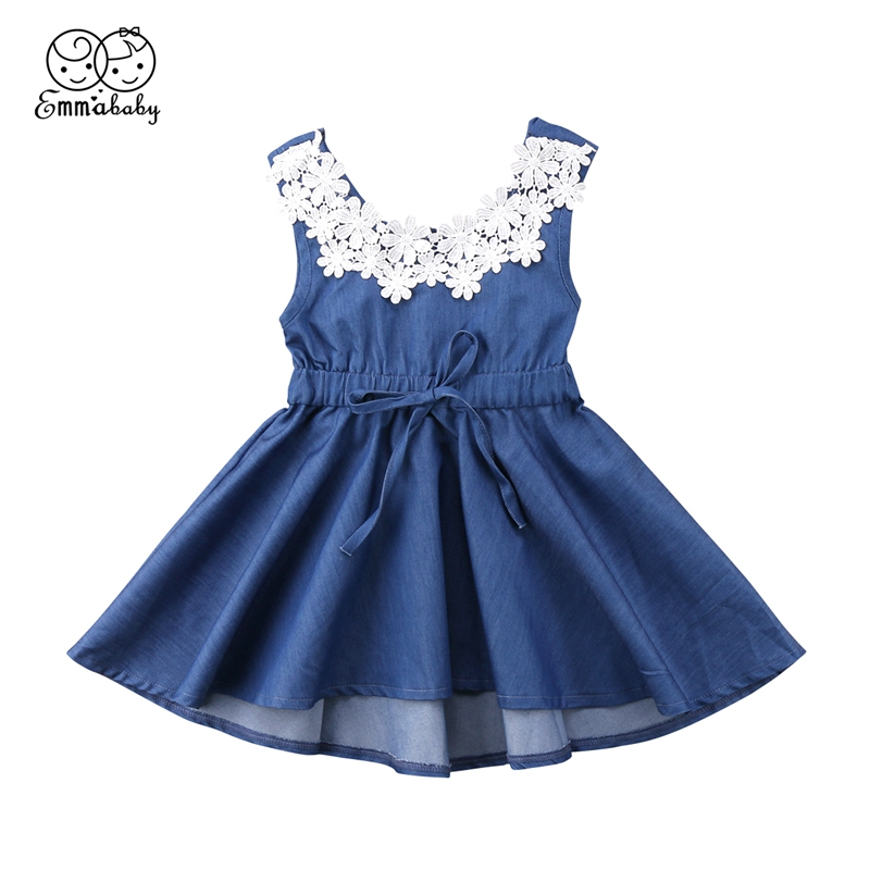 2018 Adorable Toddler Kids Baby Girls Lace Floral Patchwork Denim Princess Party Dress Sundress 1-6T music hall bluetooth 4 0 valve vacuum tube amplifier stereo power integrated audio hifi amp support usb