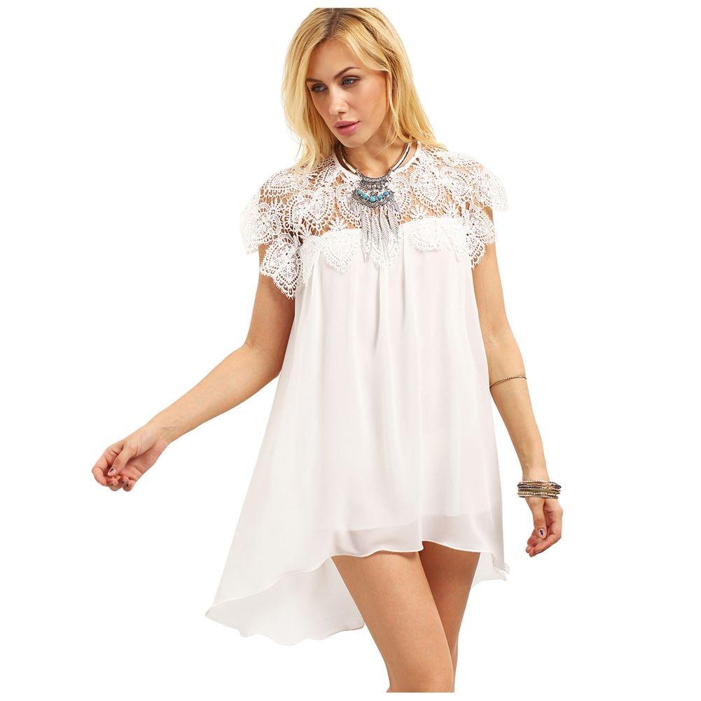 Women's New Fashion Short Dresses White Straight Solid ...