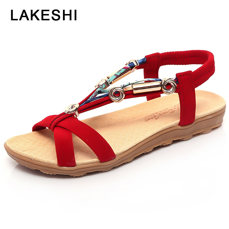 LAKESHI Bohemian Peep Toe Women Sandals Summer Beach Sandals Women Flat Shoes Fashion Slip On Ladies Sandals 2018 Women Shoes new casual women sandals shoes summer fashion slip on female sandals bohemian wild ladies flat shoes beach women footwear bt537