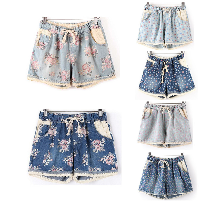 Summer Style 2019 Women Casual Denim   Shorts   With Elastic High Waist Floral Star Printed For Crop Top