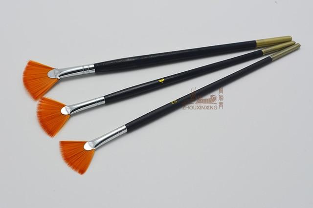 3Pcs/Set Kids Student fan shap Gouache Painting Pen Nylon Hair Wooden Handle Paint Brush set Drawing Art Supplies 2