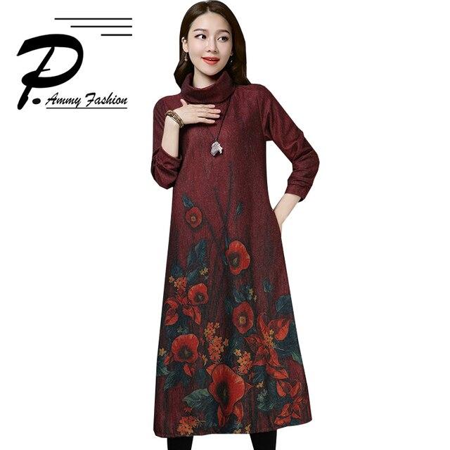 b8ddb6254 Nuevo vestido de invierno para mujer temperamento grueso tamaño grande largo  estilo chino lana moda estampado