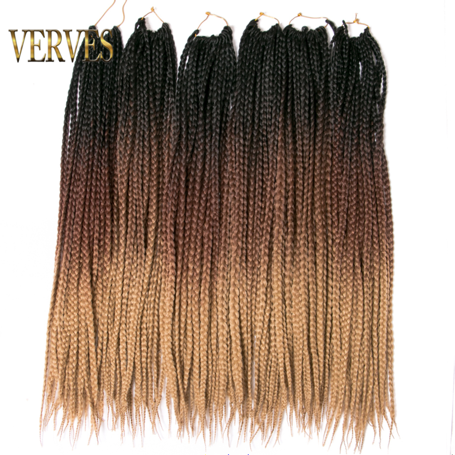 VERVES Crochet Braids Box Braid 24 Inch 22 Roots/pack Ombre Synthetic Braiding Hair Extension Heat Resistant Fiber,grey,brown